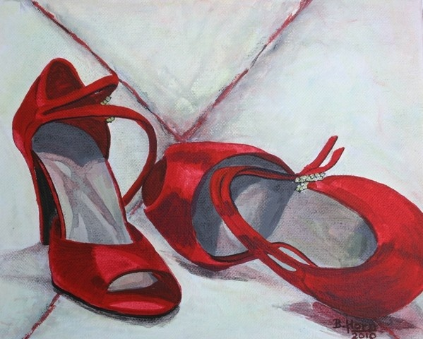 Red Shoes No 2  Giclee Print 10 x 8 green tones in by bhorn, $50,00