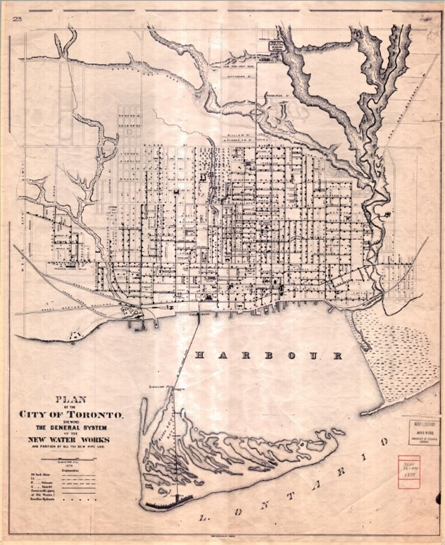 1878 Copp Clark & Co. Plan of the City of Toronto: Waterworks The burgeoning city of the late 1870s was a thirsty one. This interesting map focuses on the supply of water. It documents new pipe that had recently been laid, along with the location of new fire hydrants (the black dots).   'The first public water supply in the Toronto area was a private company operating from 1843 to 1873, known as the Furniss Works (Toronto Gas, Light and Water Company).'