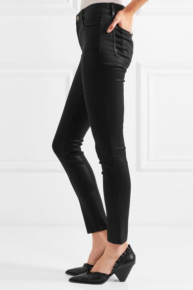 J Brand - 620 Super Skinny Coated Mid-rise Jeans - Black - 30