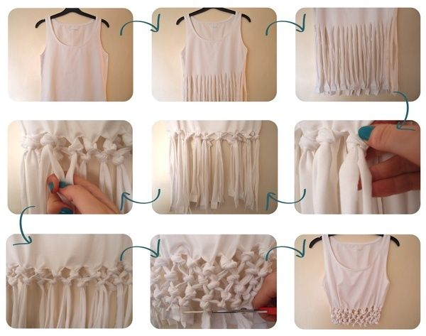 DIY cute crop top. Or, if you started with a longer shirt,