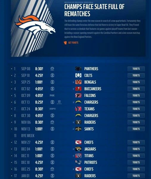 Denver Broncos Schedule: 1000+ Ideas About Broncos Schedule On Pinterest