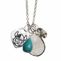 "This wire wrapped sterling silver, turquoise and rutilated quartz necklace is a great way to show your style and school spirit at the same time. This beautiful drop style necklace hangs from our high quality cable link chain and is designed for everyday wear.Metal: Sterling SilverChain Length: 16"" with a 2"" extenderShipping: FreeOfficially Licensed: Yes""the indicia featured on this product is a protected trademark owned by Cleveland State University"""