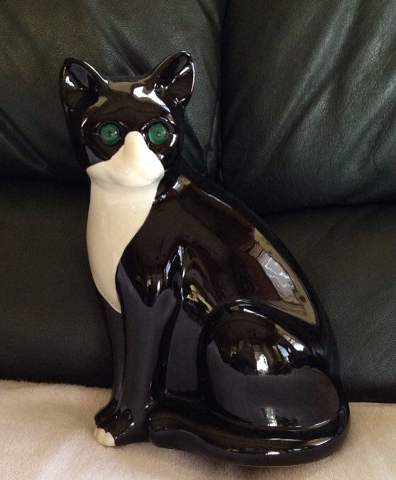 """Elpa Alcobaca Portugal Ceramic Cat Green Eyes - 1970s, measures 11"""" high by 7"""" at the widest."""