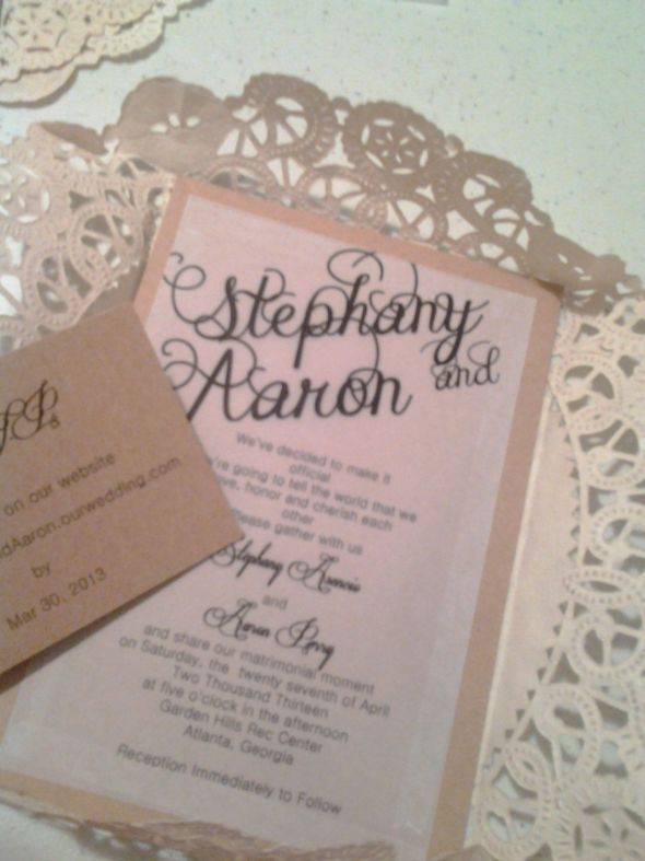 DIY Invitations Almost Done Wedding Brown Chic Diy Doilies Inspiration Invitations Ivory