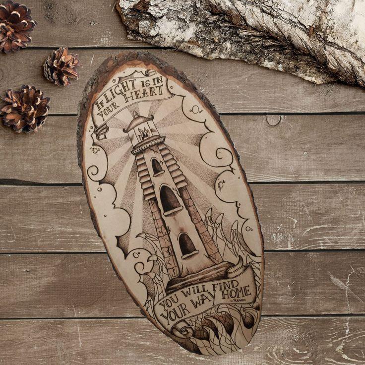 Vuurtoren nautische Decor rustieke Sign kunst op hout