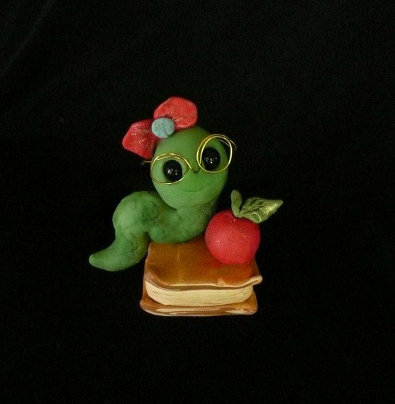 Polymer Clay Bookworm by Sandy's Creations in Clay