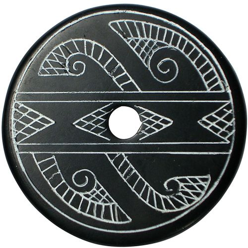 "Coal Pendant with Muisca Scroll #10  Crafted by Artisans in Colombia  Measures 1-3/4"" diameter and 1/8"" thick"