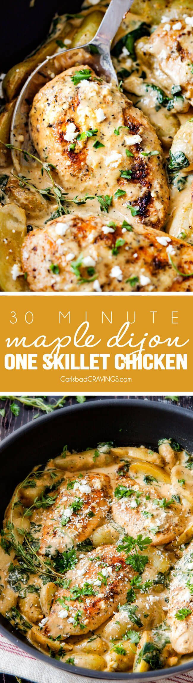 30 Minute Maple Dijon Chicken Skillet with Fingerling Potatoes and Spinach - this super easy, flavorful one chicken skillet is a meal all in one and is my favorite go-to weeknight meal! My kids love that it has potatoes in it and the creamy maple Dijon sauce is incredible! via @carlsbadcraving