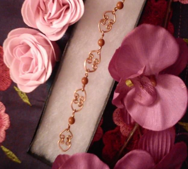 Valentines Day Heart link Bracelet with Red Jasper
