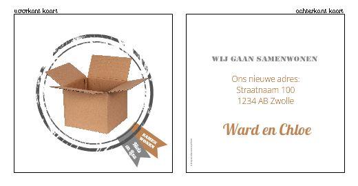 Verhuiskaartjes | Verhuiskaartje  - Samenwonen kaartje met stempel en kartonnen doos! Ontwerp of bewerk dit kaartje zelf! Met onze ontwerp tool. www.verhuiskaartjesdrukkerij.nl