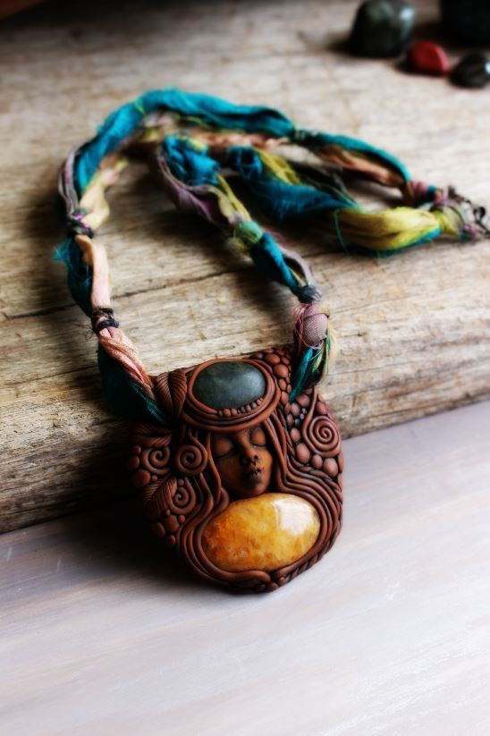 Wild Spirit Woman Necklace with Yellow Quartz and Jasper Gemstone. Handcrafted Clay and Sari Silk Necklace.  The pendant handcrafted in clay was