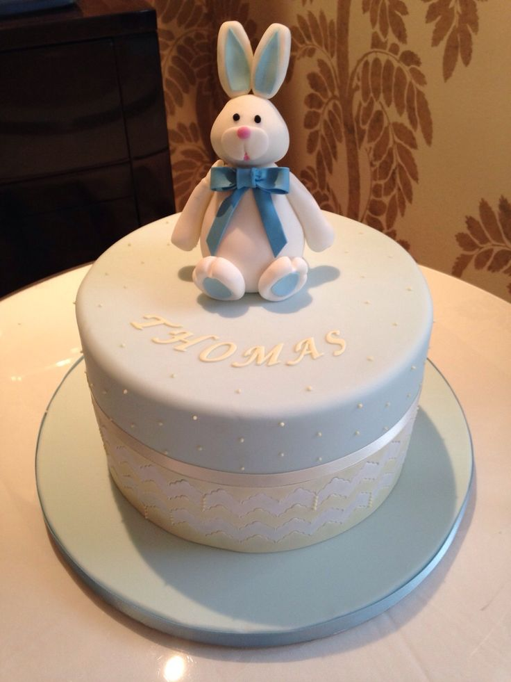 Bunny and lace Christening Cake.
