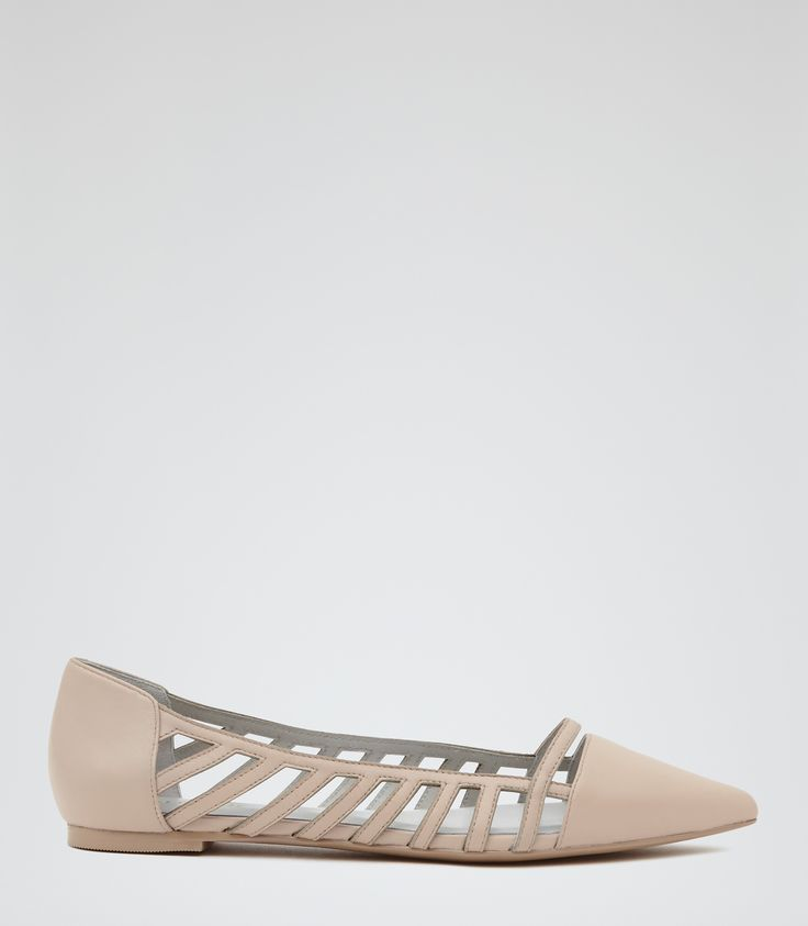 Womens Nude Cut-out Court Shoes - Reiss Summer