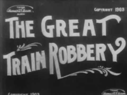 """The Great Train Robbery - 1903 Silent Film The Great Train Robbery - an action / western film. Film description from the Edison Films Catalogue, No. 200, Jan. 1904:  """"This sensational and highly tragic subject will certainly make a decided `hit' whenever shown. In every respect we consider it absolutely the superior of any moving picture ever made. It has been posed and acted in faithful duplication of the genuine `Hold Ups' made famous by various outlaw bands in the far West."""