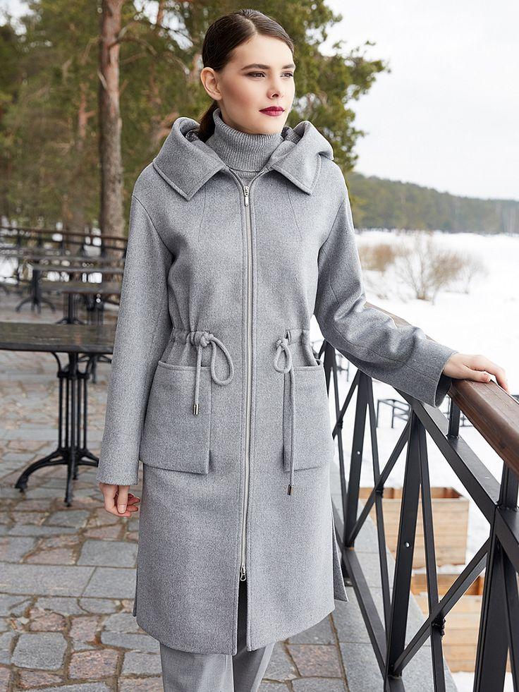 Пальто женское демисезонное цвет серый, Пальтовая ткань, артикул 1018400p10091