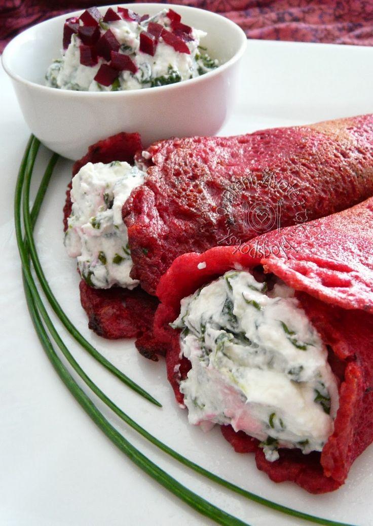 O varení, živote a tak...: Palacinky z červenej repy plnené špenátovým tvarohom