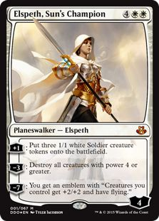 "MtG Card of the Day: Elspeth, Sun's Champion (Duel Decks: Elspeth vs. Kiora) +1: Put three 1/1 white Soldier creature tokens onto the battlefield. −3: Destroy all creatures with power 4 or greater. −7: You get an emblem with ""Creatures you control get +2/+2 and have flying.""  #MtG #Magicthegathering  #morningstargames"