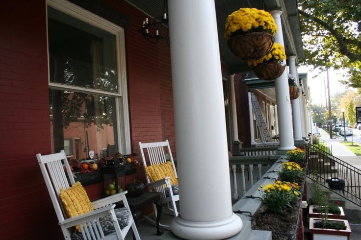 Front Porch Decorating Ideas: Fall Front Porch with yellow flower ideas