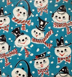 Vintage Christmas Wrapping Paper Jaunty Snowman New Old Stock Gift Wrap | eBay