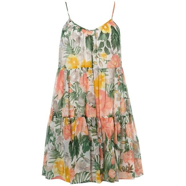 Dorothy Perkins **Vila Tropical Trapeze Dress featuring polyvore, women's fashion, clothing, dresses, multi color, tent dresses, trapeze dress, dorothy perkins, dorothy perkins dress and multi print dress