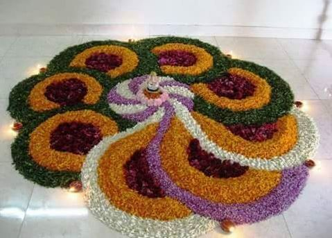 Rangoli Designs with Flowers for Onam