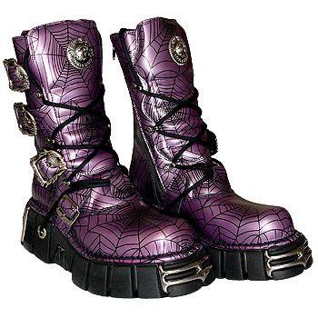 New Rock Boots Style 391 (Black/Purple Spiderwebs)