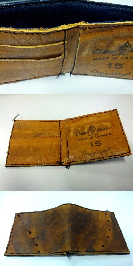 Wallets out of vintage hockey gloves.