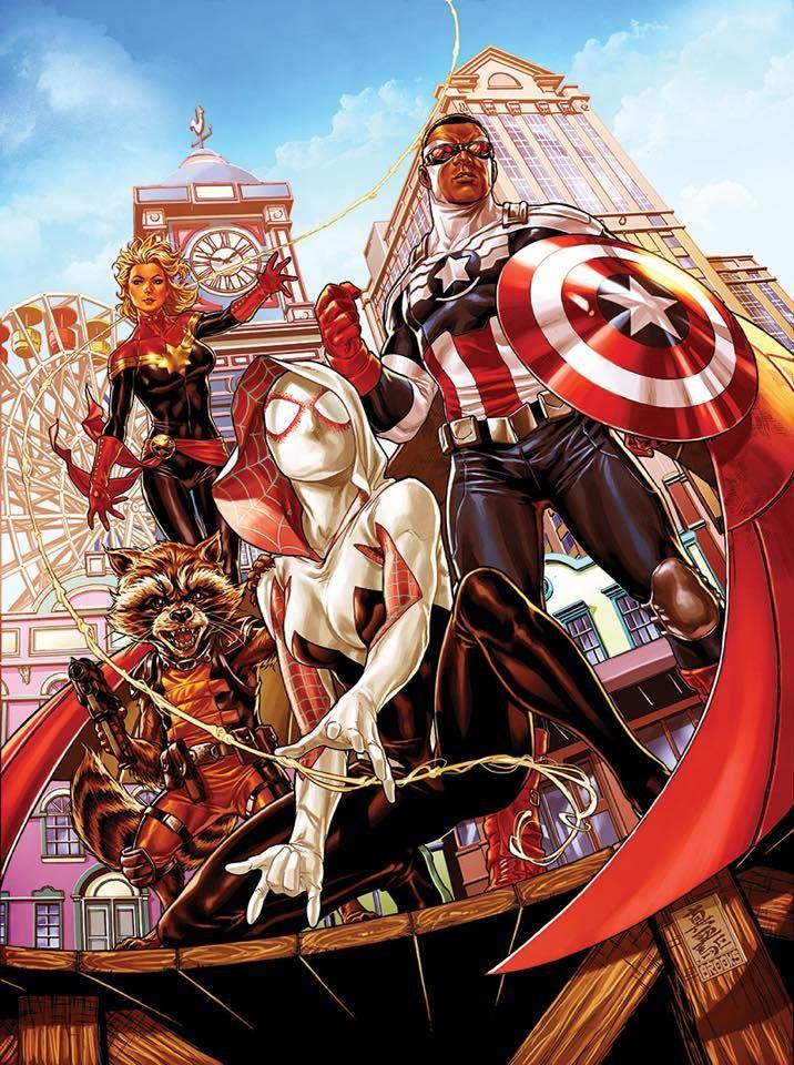 Rocket Racon, capitão América falcao, capitão Marvel e homem aranha versão Mary Jane