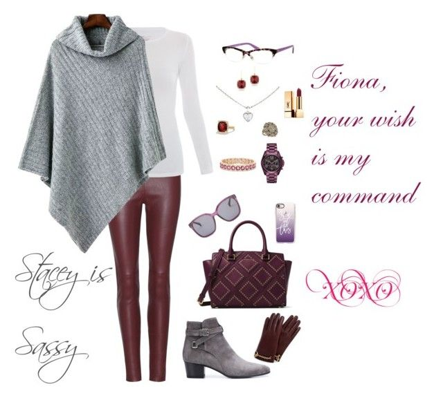 """""""Winter - Grey and plum."""" by staceyissassy on Polyvore featuring Balenciaga, Majestic, Yves Saint Laurent, MICHAEL Michael Kors, Cole Haan, Kate Spade, Casetify, Michael Kors, Cartier and David Yurman"""