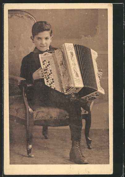 Boy accordian player, just like my pops - Vintage photo