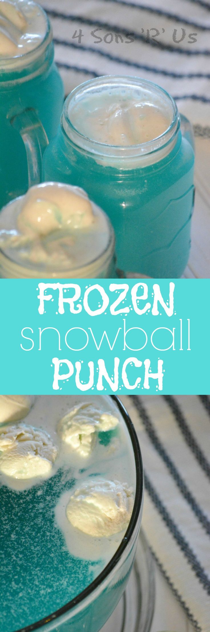 A yummy, sweet treat, this Frozen Snowball Punch makes a delicious beverage for any festive occasion. Packed with flavor and with only four ingredients, it's a winter weather must-have.