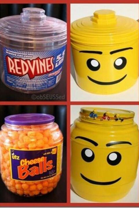 food containers into lego men storage containers, genius.