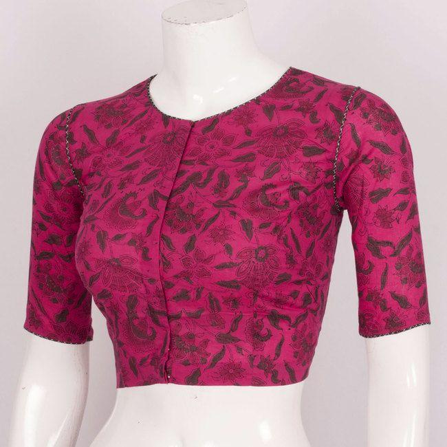 Hand Block Printed Cotton Blouse With Piping 10019880 - AVISHYA.COM
