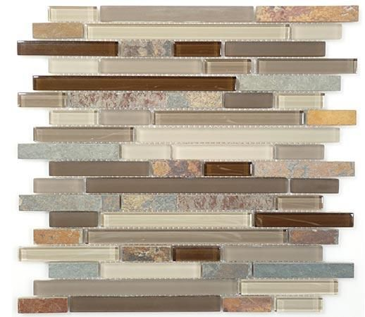 Kitchen Back Splash - Glass & Slate Taupe Tile - love these colors