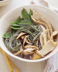 """Asian Chicken Noodle Soup -  The Chinese have considered the shiitake a symbol of longevity for thousands of years; recent research shows that it's a great source of iron and antioxidants. Here, Nichole Birdsall adds the mushrooms to a soulful recipe passed on to her by her grandmother. """"It's a comfort thing. If I need to feel a family connection, I make that soup,"""" she says. (Food&Wine)"""