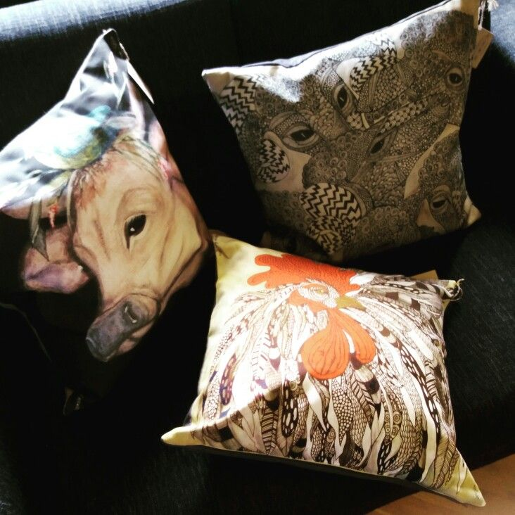 Cushions by Anna Strøm design of Norway AS www.fabelskog.no #cow#roosters #sheeps #designofnorway #textile #hometextile # homedecor