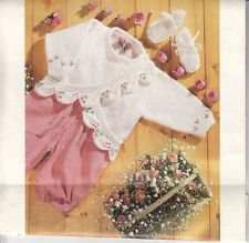 """Vintage Knitting Pattern Leaf Border Matinee Coat 16-22""""chest baby/reborn/doll for sale in my eBay shop - dollie.daydreams"""