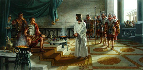 """JOHN 18:37-38    37   Then Pilate said to him, So you are a king?""""  Jesus answered, """"You say that I am a king. For this purpose I was born and for this purpose I have come into the world - to bear witness to the truth. Everyone who is of the truth listens to my voice.""""   By James Seward"""