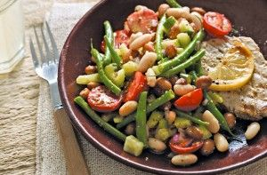 180 calories/8.5g fat per portionBeans are a great source of fibre and protein and will fill you up quite quickly, meaning you'll eat less and snack less too - which is ideal if you're calorie counting! This salad is not only bursting with different types of beans such as cannellini, borlotti and green, it's also full of flavour thanks to the tangy mustard dressing.Get the recipe:�Mixed bean salad with mustard dressing