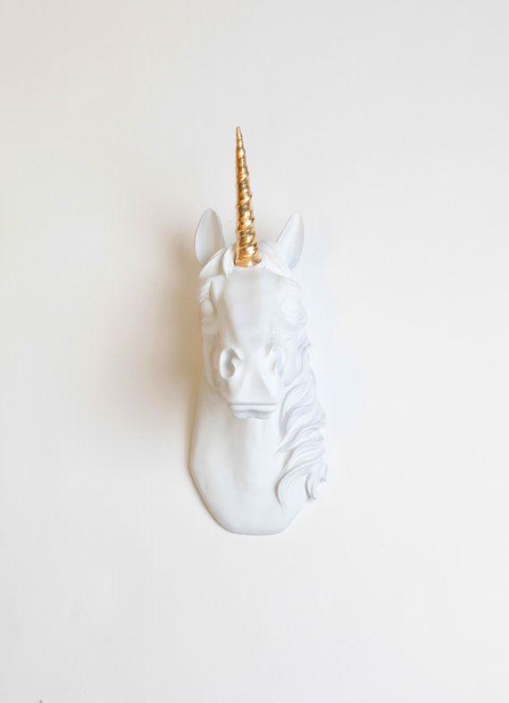 The Bayer Unicorn Head White W/ Gold Alicorn - Unicorn Taxidermy Wall Mount - White Faux Taxidermy  - Unicorn Wall Mount- Kids Room Decor