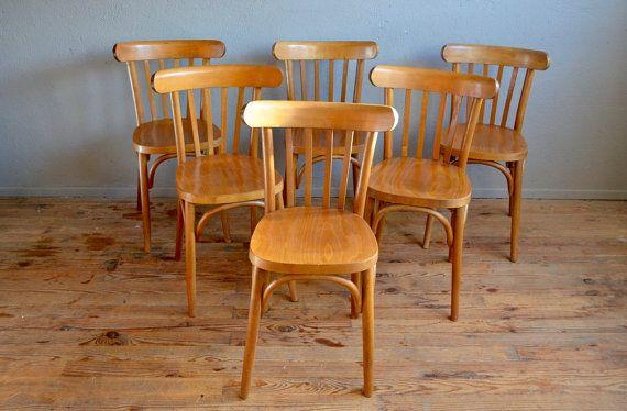 Chaises bistrot lot de 4 style baumann ann es 60 bois for Chaise bistrot baumann prix