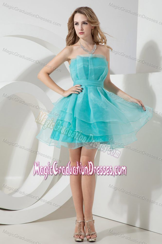 Light Blue Strapless Ruched Mini-length Evening Dress for Graduation in Frankston