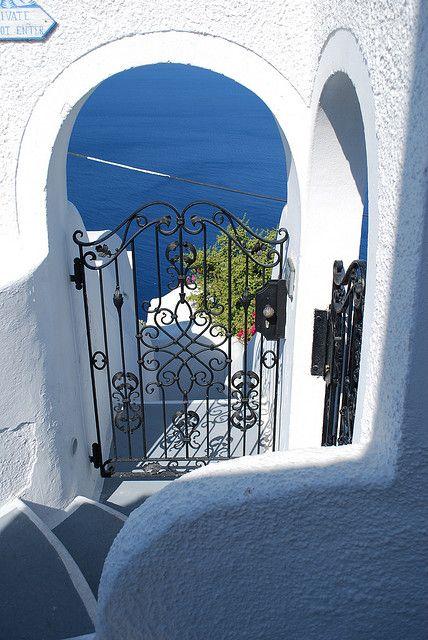 Stairs to Aegean Sea, Santorin, Greece