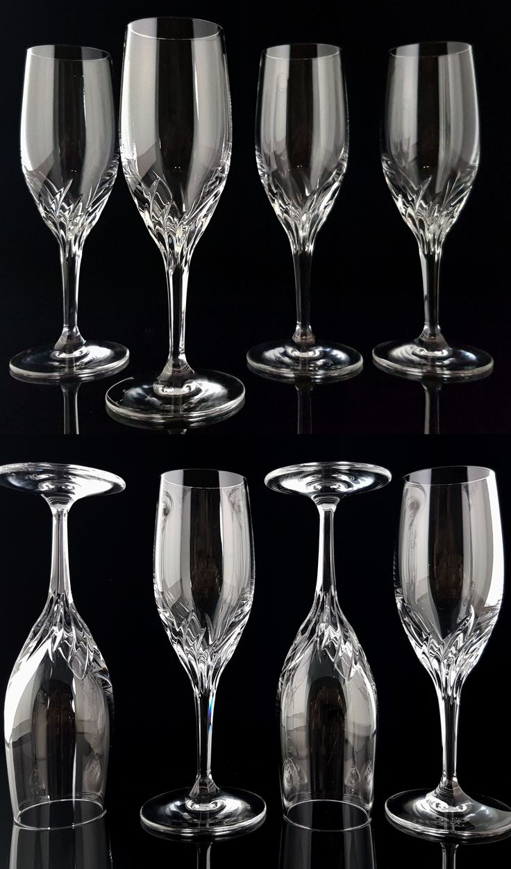 BUY on ETSY: Cut Crystal Champagne Glasses, Port Wine, Sherry Glasses, Stemmed Flutes, Set of 6