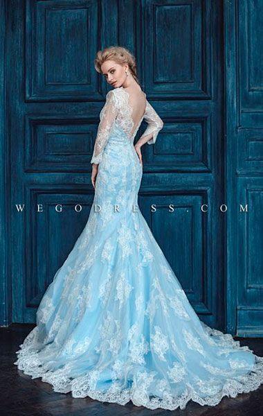 マーメイドラインと袖の透け感が清楚な色気を引き立たせる水色ウェディングドレス♡ WEGO アナと雪の女王 エルサみたい 真冬のお色直しのアイデア☆