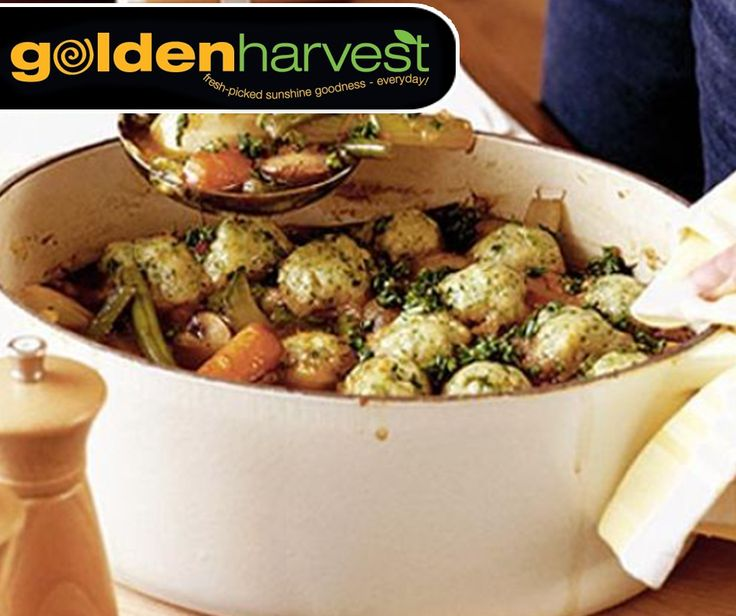 This Spring veggie casserole with little herb dumplings dish is a perfect vegetarian supper full of fresh flavours, which is ideal for sharing with friends and family. For the full recipe, click here: http://ablog.link/71W. Source: bbcgoodfood. #MeatfreeMonday #GoldenHarvest