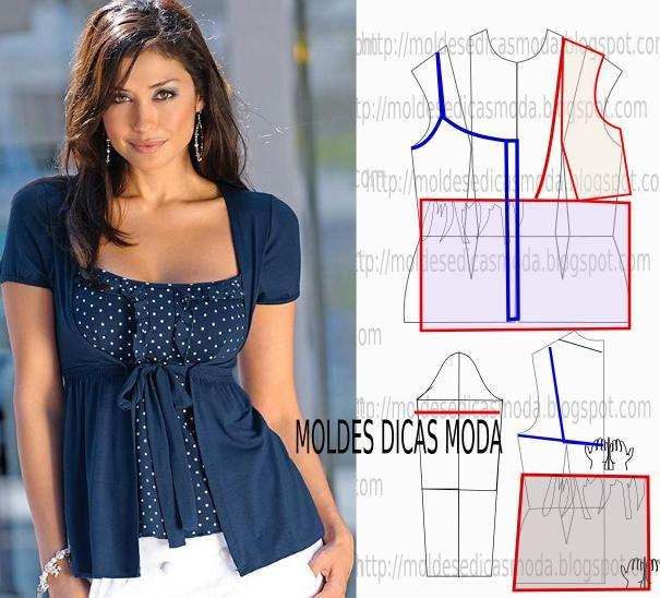 Passo a passo transformação do molde de blusa casaco. Para fazer este modelo de blusa imprima o molde base de blusa e faça a gradação para o seu tamanho.
