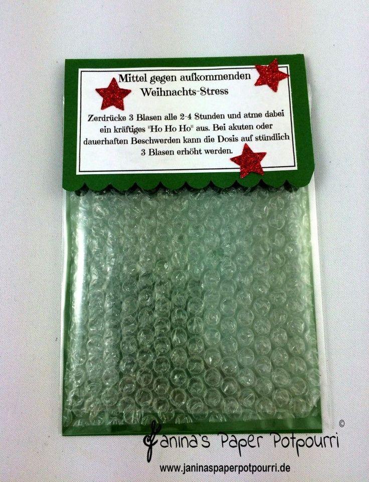 jpp - Mittel gegen Weihnachtsstress / Anti Stress Mitbringsel Weihnachten / Weihnachts Gag / Luftpolsterfolie / Stampin' Up! Berlin www.janinaspaperpotpourri.de