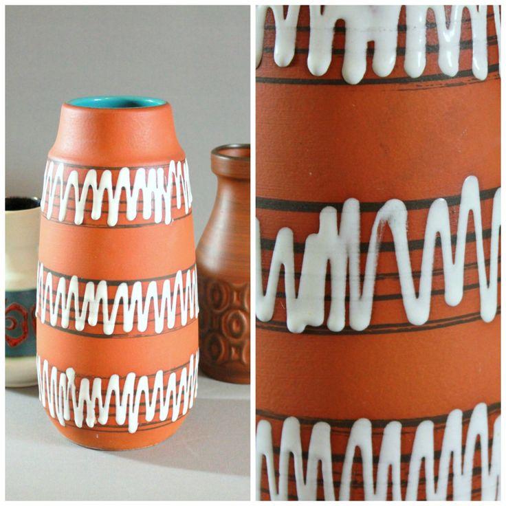 Vintage Scheurich 203-26 Tall Vase Zig Zag Pattern White Matte Glaze Modernist Mid Century Modern 1950s -1960s Fiftees Sixtess by Vinteology on Etsy https://www.etsy.com/listing/259545388/vintage-scheurich-203-26-tall-vase-zig