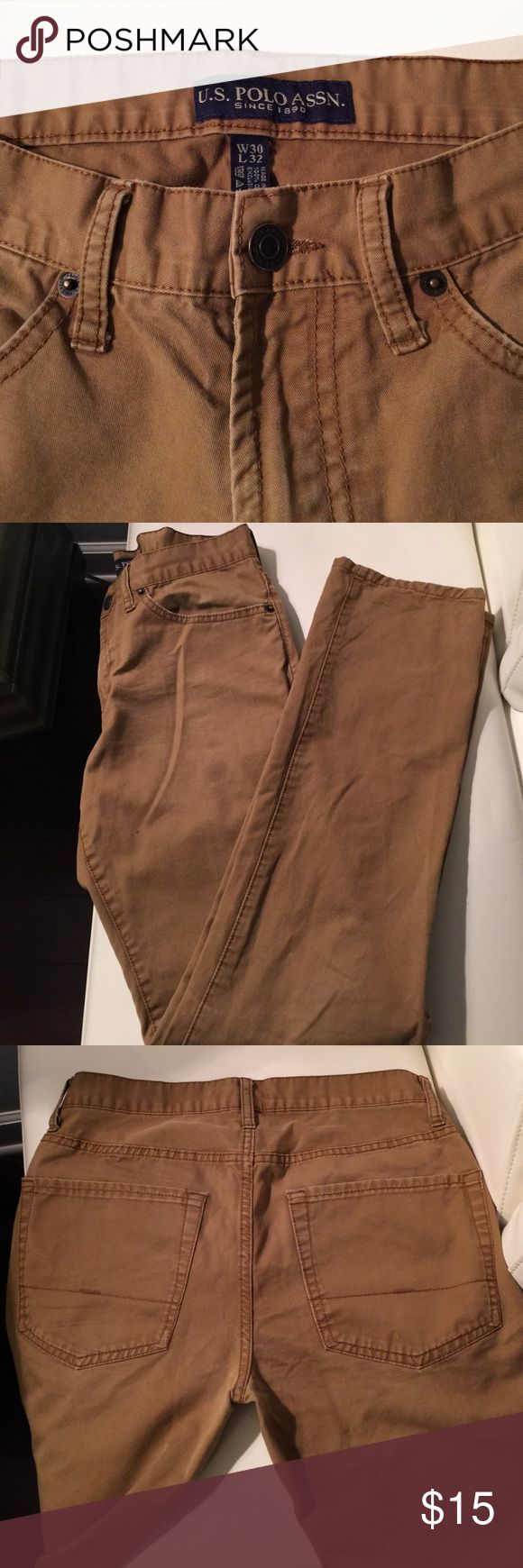 US Polo Association Tan jeans size 30 x 32 Tan color. No tears or stains. Straight leg U.S. Polo Assn. Jeans Straight Leg